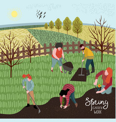 people cultivate the land with a rake and hoe for vector image