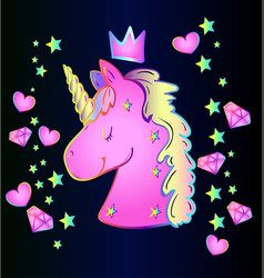 pink cartoon unicorn vector image