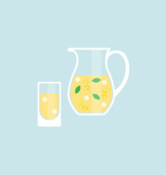 pitcher and glass with lemonade vector image