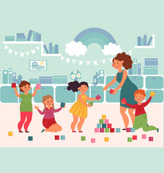 play in kindergarten cute small kids joy smiling vector image