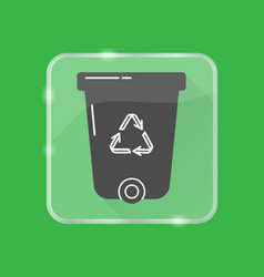 recycle bin silhouette icon in flat style on vector image