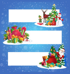 santa and snowman with gifts christmas banners vector image