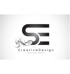 Se letter logo design with black smoke vector