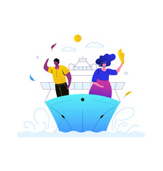 sea travel - colorful flat design style vector image