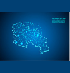 Serbia no kosovo map with nodes linked by lines vector
