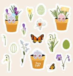 set easter gift stickers scrapbooking elements vector image