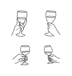 set hand holding wine glass doodle vector image