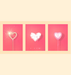set hearts from different materials on a red vector image