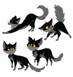 set of black cats collection of cartoon cats for vector image