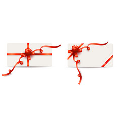 set of gift cards with red bows and curly ribbons vector image