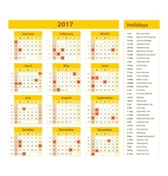 Simple calendar 2017 marked with the official vector image
