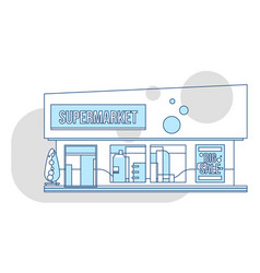 Supermarket showcase and ads thin vector