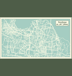 Surabaya indonesia city map in retro style vector