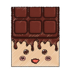 Sweet chocolate bar kawaii cute cartoon vector
