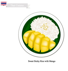 Thai Dessert Ripe Mango with Sticky Rice vector