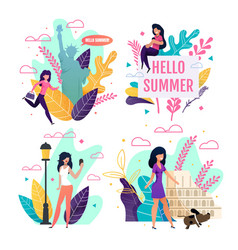 Travelling cards set with cartoon female tourist vector