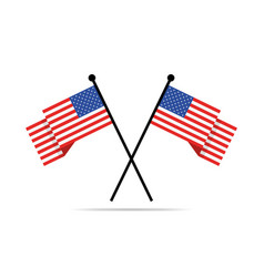 Two crossed american flags vector