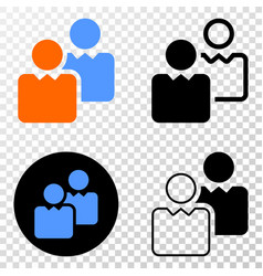 users eps icon with contour version vector image