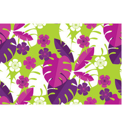 vibrant bright simple tropical leaves pattern vector image
