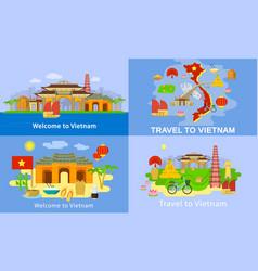 Vietnam banner set flat style vector