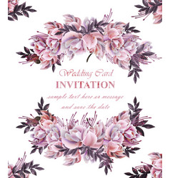 vintage wedding card with roses wreath vector image