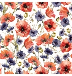 Watercolor poppy and cornflower pattern vector
