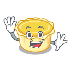 Waving egg tart character cartoon vector