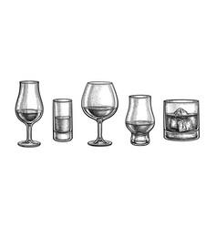 Whiskey glasses big set vector