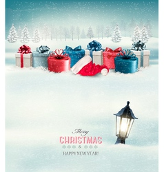 winter christmas background with presents vector image