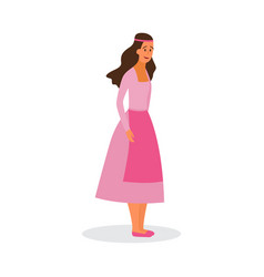Woman character in historic ethnic costume flat vector
