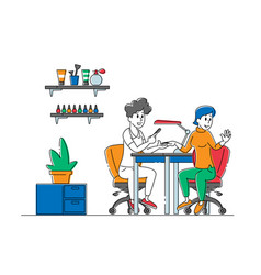 woman character visiting beauty salon master do vector image