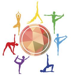 yoga asana silhouettes sport studio logo vector image