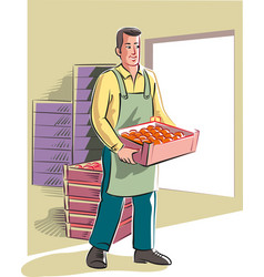 Young man moves a crate full of oranges vector