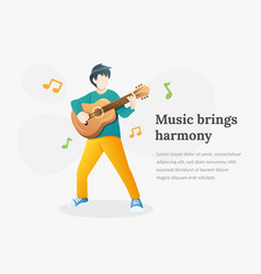 young man playing guitar vector image