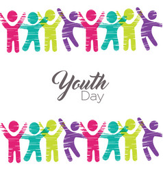 Youth day card of diverse people in colorful art vector