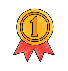 award rosette number one competition vector image