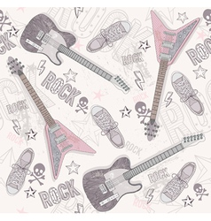 cute grunge abstract seamless guitar pattern vector image vector image