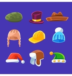 Different types of hats and caps warm and classy vector