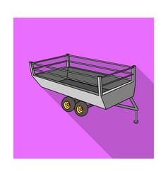 grey trailer on wheels for transportation of farm vector image