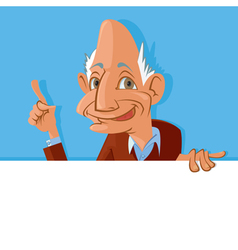 old man holding blank sign vector image vector image