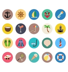 Set of icons summer beach vacation vector image