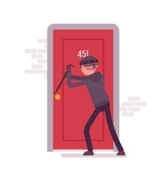 Thief breaking the door with a crowbar vector image