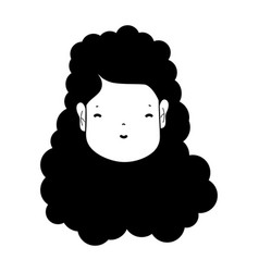 contour woman face with hairstyle and expression vector image