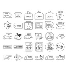 free shipping icon set vector image