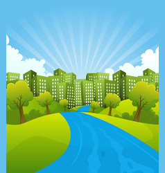 green city in summer time vector image vector image