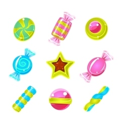 Hard Candy Colorful Cute Simple Icons Set vector image vector image