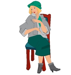 Retro girl sitting on the chair in green hat vector image vector image