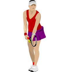 woman tennis player poster colored for designers vector image vector image