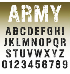 alphabet font army stamp design vector image