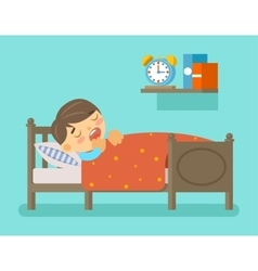 Boy sleeping in the bed vector image